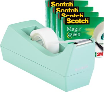 Product SM4MINT, Omschrijving: Scotch plakbandafroller munt + 4 rollen Scotch Magic tape